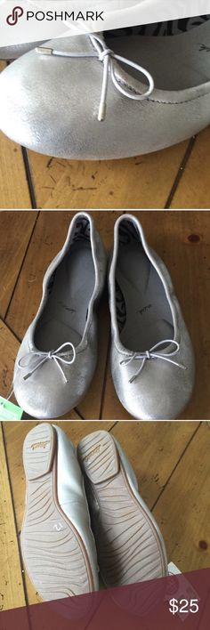 Sanuk silver ballet flats Comfortable and brand new, worn twice with socks. Re-posh: unfortunately I took the tags off and don't have them, but these were just slightly small for me. No signs of wear. Sanuk Shoes Flats & Loafers