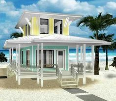 Plan Beach Loveru0027s Dream Tiny House Plan Elevation   I Would Out Skylight  Windows In The Surrounding Porch Awning Tho. Nice Look