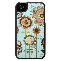 Cute retro brown beige floral pattern case for the iphone 4 by iPhone_iPad_Case TBA Award winner 8-16-12!