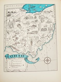 Antique Ohio Picture Map - Original Fun Little Vintage Picture Map to Frame
