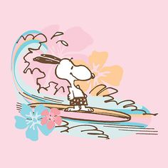 Snoopy surfs on blue waves with flowers and a pink background