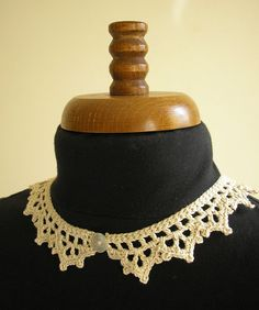 delicate crochet trim necklace with shell button and by CMbeatknit, $20.00