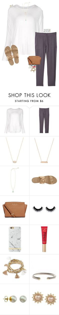 """""""OOTN-Soccer Dinner"""" by cfc-prep-sc ❤ liked on Polyvore featuring Majestic Filatures, MANGO, Kendra Scott, Jack Rogers, MICHAEL Michael Kors, Too Faced Cosmetics, Forever 21, David Yurman, Majorica and Carolee"""