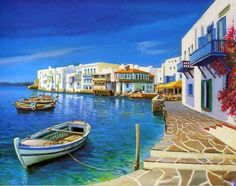 Sea and Ship Mediterranean Oil Painting