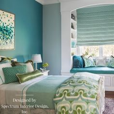 We love the beautiful shades of blue and green added to this bedroom by interior designers Spectrum Interior Design, Inc., don't you? #interiordesign #turquoise #bedroom #green #blue