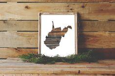 West Virginia Print, West Virginia Silhouette, Wood Art, Wood Print, Cabin Wall Art, Instant Download, West Virginia Art, Wood Wall Decor