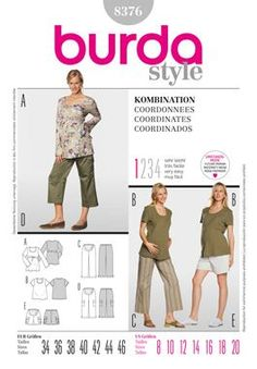 "Simplicity Creative Group - Burda Style, Coordinates Going to look into buying material and having these made, since I do not currently have sewing or surger machine. So tired of all maternity ""active wear"" being spandex(for the gym!) I'm going to buy material that will be good for camping, hiking, etc and doesn't cost $85!!! There's no reason clothing needs to cost that much : ("