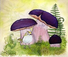 Goldcrest and purple mushrooms