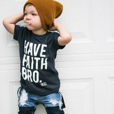 """HAVE FAITH BRO - Heathered Blue - We're all about contemporary faith-inspired threads, and """"Have Faith Bro"""" is no exception. Choose the color combo that best fits your little one's style and watch them rock this tee with pride. Baby Outfits, Little Boy Outfits, Toddler Boy Outfits, Kids Outfits, Little Boy Style, Little Boys, Cool Outfits For Boys, Kids Style Boys, Summer Outfits"""
