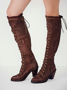 Jesse Lace Up Over The Knee Boot - Coffee Suede