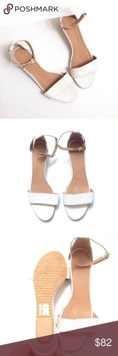 Marc by Marc Jacobs Napa Demi-wedge Sandals Marc by Marc Jacobs Napa Demi-wedge Sandals in size 39. Cracked detail design in white color. EUC. May have some writing on the bottom shoe Marc By Marc Jacobs Shoes Sandals