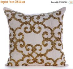 15% YEAR END SALE Simple and Elegant - Gold Encrusted - Check out my Gold Bead Embroidered Ivory Linen throw pillow cover.