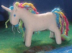 Wool felt unicorn horse Waldorf wool toy animal pony soft plush rainbow. $28.00, via Etsy.