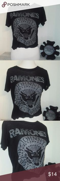 HoT! Ramones Band crop top semi-sheer small Rough cut crop top semi-sheer small black soft fabric with classic Ramones band logo on front y Daydreamer  Bundle & Save!!  Happy Poshing  :)  Tags: Rock Punk Emo Concert Band Retro Vintage Hot Topic Hot Topic Tops Crop Tops