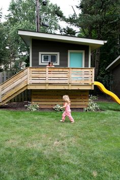 Building your little one a playhouse in the backyard will surely make them happy. However, you'll want it to be safe as well as beautiful. There are a few things you should know before you build a playhouse for kids. Kids Playhouse Plans, Modern Playhouse, Outside Playhouse, Playhouse Kits, Backyard Playhouse, Build A Playhouse, Simple Playhouse, Outdoor Playhouses, Girls Playhouse