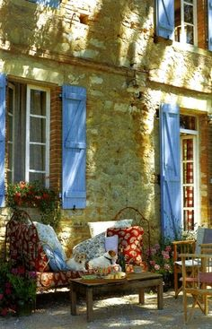 Provence, France - old furniture with bright linens make a lovely place to spend a few hours