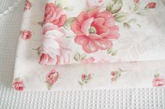"""Pink Rose Fabric, Pink Floral Fabric, Rose Cotton, Japanese Fabric, Rose Cotton Fabric- 1/2 yard 18""""X63"""""""
