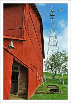 Red barn and windmill at Yoder's Amish Home | Flickr - Photo Sharing!