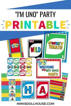 First Birthday printables for an Uno birthday party. Easy to use printable decorations for a 1st birthday Birthday Party Treats, 1st Birthday Party For Girls, 1st Birthday Party Decorations, Party Printables, First Birthdays, Party Ideas, Easy, One Year Birthday, Ideas Party