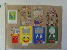 Portfolio Kindergarten, Kindergarten Science, Preschool Classroom, Classroom Decor, Preschool Activities, Earth Day Projects, Earth Day Crafts, Recycling Activities For Kids, Art For Kids