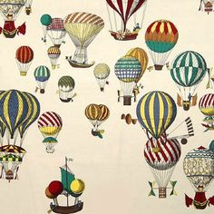 Hot Air Balloon Wallpaper from Fornasetti. Fornasetti Wallpaper, Piero Fornasetti, Fabric Wallpaper, Wall Wallpaper, Bathroom Wallpaper, Air Balloon, Balloons, Cole And Son Wallpaper, Painted Paper