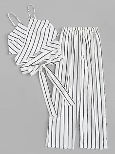 Striped Knot Hem Cami Top With Pants -SheIn(Sheinside) Cute Lazy Outfits, Crop Top Outfits, Outfits For Teens, Pretty Outfits, Stylish Outfits, Girls Fashion Clothes, Summer Fashion Outfits, Teenager Outfits, Peplum Dresses