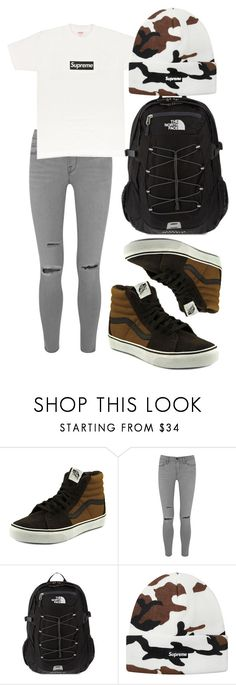 """$chool."" by l0vekennedyy ❤ liked on Polyvore featuring Vans, Frame, PacSun and The North Face"