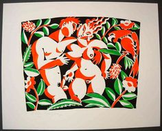 Stencilprint, man and women in the woods