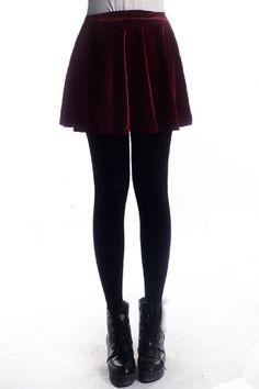 Velvety burgundy skater skirt for under twenty bucks. Would look great with thigh highs