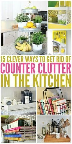 Kitchen Decor 15 Clever Ways to Get Rid of Kitchen Counter Clutter - Glue Sticks and Gumdrops - Tired of messy countertops? We've found 15 easy ways to get rid of kitchen counter clutter. You'll have much more food prep space now! Organizing Hacks, Organisation Hacks, Organizing Your Home, Cleaning Hacks, Organising, Kitchen Organization Hacks, Organization Station, Clutter Organization, Organization For Small Bathroom