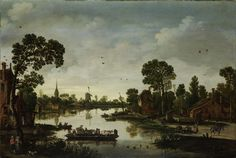 Het ponteveer, Esaias van de Velde, 1622