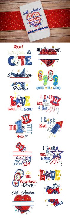 All American Applique design set available for instant download at designsbyjuju.com