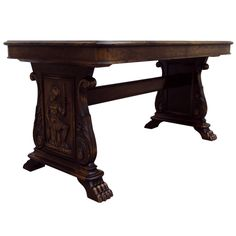 "@1stdibs - Swedish Neoclassical Art Deco Carved ""Bibliotek"" Library or Writing Table at Bjork Studio"