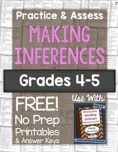 This free download includes a 20-question practice and 20-question assessment on Making Inferences, complete with answer keys. Your students will read a short passage and then choose the most likely inference that can be made. Students will also indicate what background knowledge helped them reach their answer.This is Level A = grades 4-5 difficulty level.