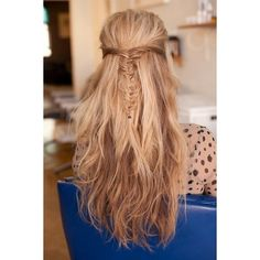 messy fishtail braid half-up, half-down hairstyle Hair and Beauty Tutorials found on Polyvore