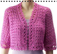 Madame Craft: Bolero rosa com mangas 3/4 e ponto régua, em crochê