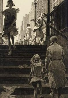 Martin Lewis Subway Steps drypoint on paper, x cm (plate). Collection of Smithsonian American Art Museum, Washington, DC, USA. Drypoint Etching, Illustration Art, Illustrations, Harlem Renaissance, Wood Engraving, American Art, American History, Art Museum, Art History