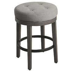 The Culvert Tufted Swivel Counter Stool from Threshold™ provides a comfortable spot for perching. Made with a durable hardwood frame and black metal Kitchen Counter Stools, Swivel Counter Stools, Bar Counter, Kitchen Island, Wooden Dining Room Chairs, Old Chairs, High Chairs, Lounge Chairs, Grey Bar Stools