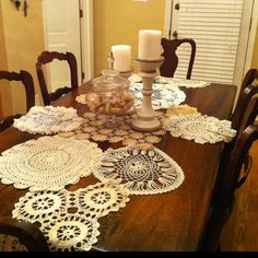 Toni made me a table runner made out of antique doilies! Love the vintage look!
