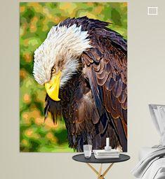 Weißkopfseeadler mit bösem Blick Bald Eagle, Illustration, Bird, Colors, Animals, Artist Canvas, Digital Art, Canvas Frame, Eagles