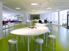 Office & Workspace: Interesting Wooden Circle Office Desk Furniture And Simple Bar Stool At Opened Views Room Office Interior Design Furniture Wonderful In Demand Modern Office Interior Designs For Home Design Inspiration - BelMav Work Office Design, Modern Office Design, Office Furniture Design, Contemporary Office, Office Designs, Studio Furniture, Smart Design, Bureau Design, Workspace Design