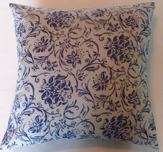 Blue Paisley Throw Pillow Cover-20 x 20 Handmade Cottage