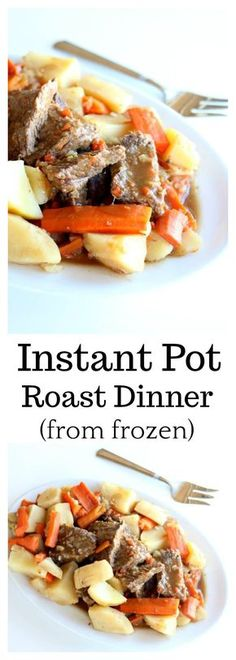 Instant Pot 5-Ingredient Pot Roast Dinner–a chuck roast is cooked until moist and tender in an hour in your Instant Pot (mine was frozen!) along with seasoned vegetables. The meal is finished off with homemade gravy. #instantpot