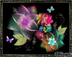 fractal blossoms.  I made this blingee/ fractal art pic.  click to see animated version. cmflash