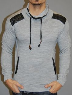 great mock / turtle neck sweater. with neck , side pockets and shoulders trimmed with faux leather PLEASE USE THE SIZE CHART TO PICK THE CORRECT SIZE FOR YOU. -HIGH QUALITY MATERIAL -BODY FITTED / SLI