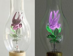 From the 1930s through the 1970s, Aerolux Light Corporation produced these amazing novelty light bulbs that contained sculptural filaments in the shape of flowers, birds, and myriad other designs that would illuminate in different colors. The bulbs contained a mixture of neon or argon (or both) and some of the components were coated with phosphors to achieve different color effects.
