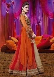 Party Wear Georgette Multi Colour Antique Work Anarkali Suit