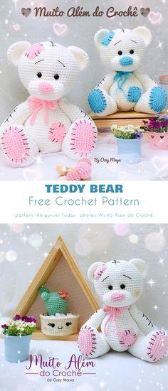 Crochet Teddy Bear Pattern Free, Teddy Bear Patterns Free, Crochet Amigurumi Free Patterns, Crochet Animal Patterns, Stuffed Animal Patterns, Free Crochet, Crochet Teddy Bears, Knitted Toys Patterns, Diy Teddy Bear