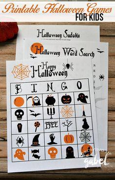 Free printable games make fun Halloween activities for kids! A Halloween word…