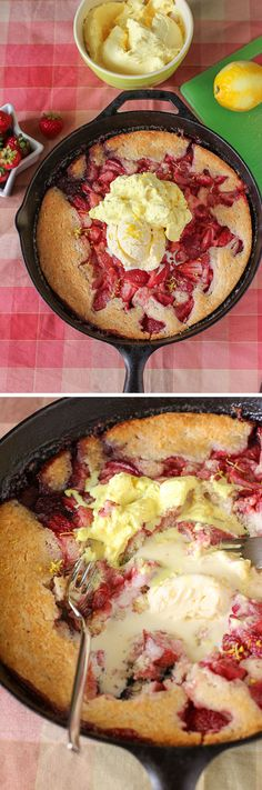 Strawberry Cobbler with Lemon Cream: an incredibly easy, incredibly delicious summertime treat! I love to eat it straight out of the skillet, and I'm not one bit ashamed :)